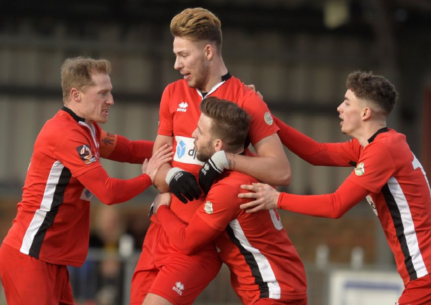 Eastbourne Borough V Oxford City - Borough celebrate their equaliser (Photo by Jon Rigby) SUS-191102-160136002