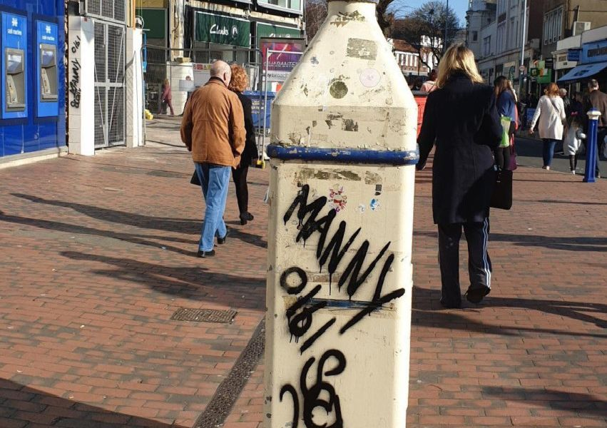 Graffiti on a lamp post in Terminus Road, photo by Ben Atherton