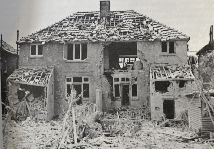 Damage to the rear of a pair of semi-detached houses in Northbourne Road  on October 6 1940