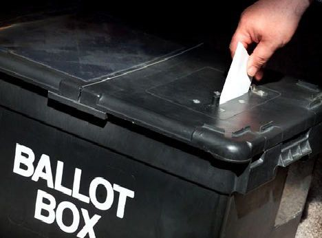 a picture of a ballot box