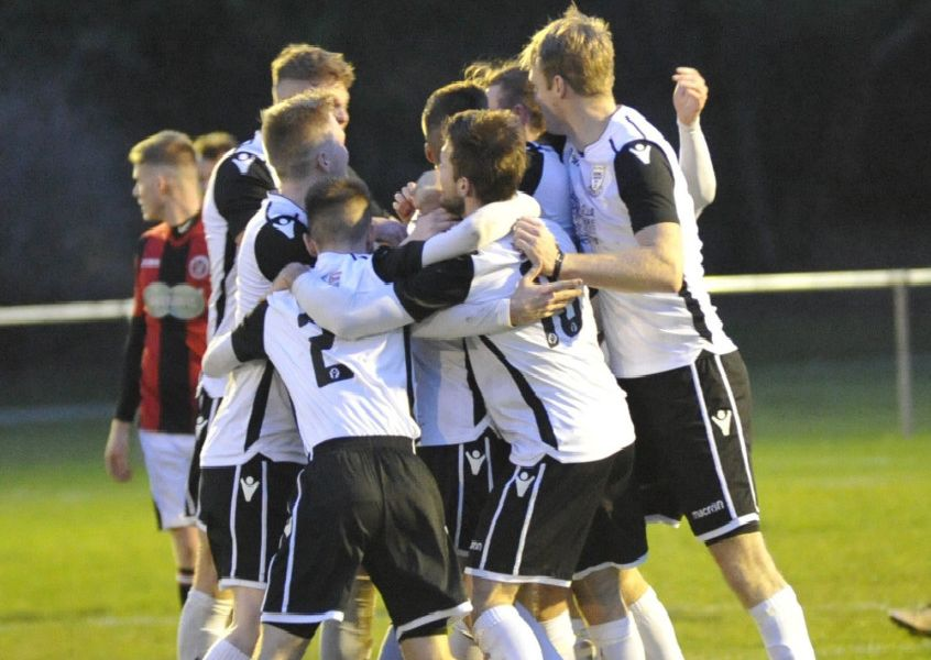 Bexhill United celebrate after taking the lead in the 1-1 draw at home to AFC Varndeanians