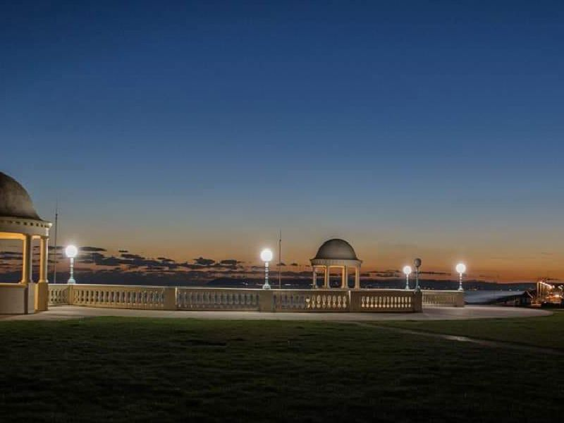 The Colonnade at Bexhill at dusk