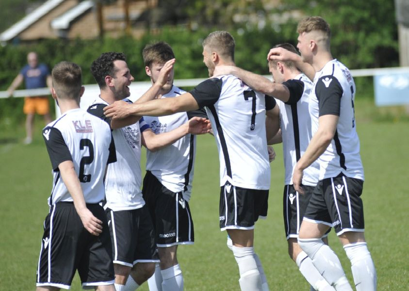 Bexhill United celebrate their opening goal against Hailsham Town