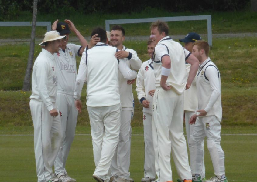 Hastings Priory Cricket Club celebrates an early wicket against Burgess Hill