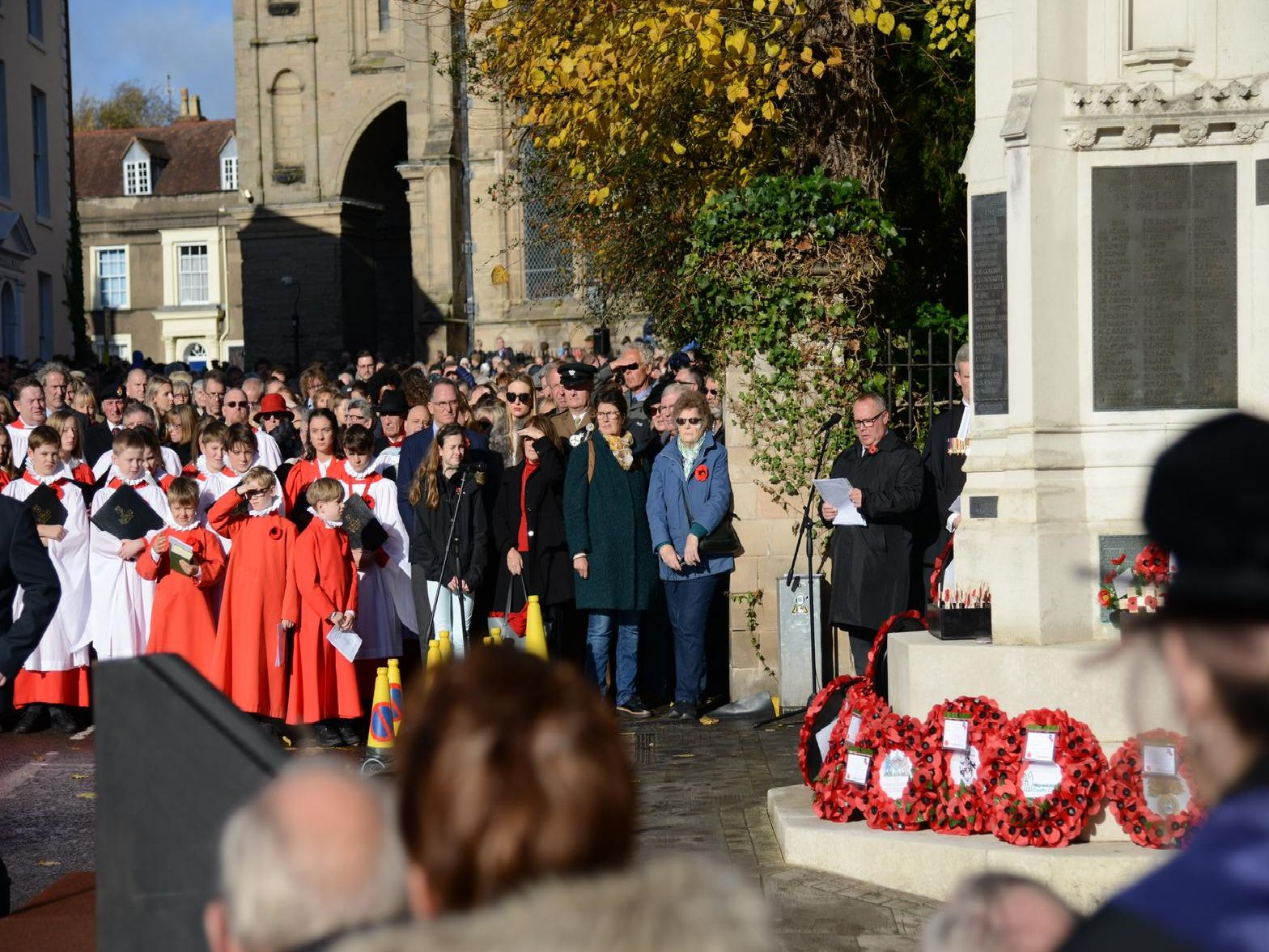 The service of Remembrance at the Warwick War Memorial. 'This was followed by a two-minute silence at 11am, wreath laying and a march past of local units and organisations.'Photo by Gill Fletcher