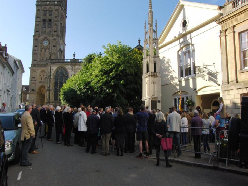 Warwick residents gathered to commemorate the 75th anniversary of D-Day at the war memorial in Church Street. Photo by Geoff Ousbey.