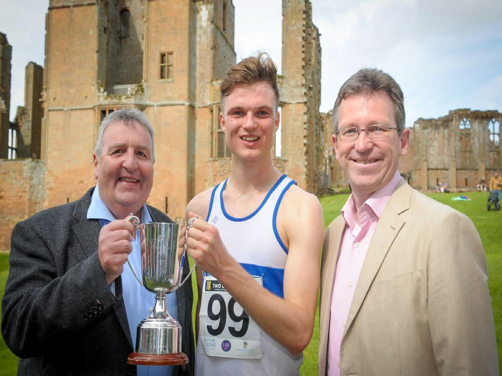 Mens winner Callum Hanton pictured with Richard Thornton of sponsors Blythe Liggins (left) and MP Jeremy Wright