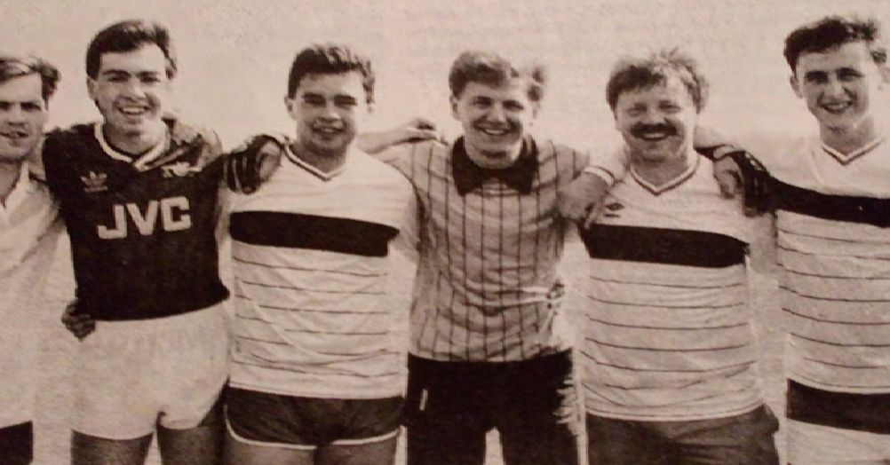 Craigyhill, who were runners-up in the Larne Elim Pentecostal Church five-a-side football competition's open section - Boyd McDowell, Nigel McDowell, Gordon Magee and Thomas Thompson, Jack McKee and Mark Smyth. 1989