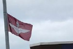A Parachute Regiment flag erected in Larne.