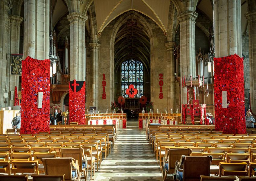 The community poppy tribute inside St Mary's Church in Warwick.