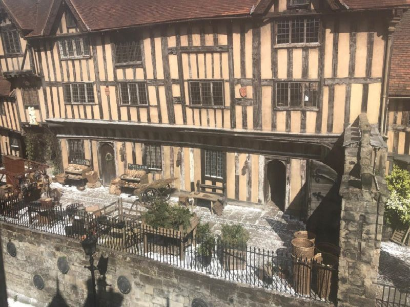 Filming at the Lord Leycester Hospital in Warwick. Photo by Mandy Littlejohn.