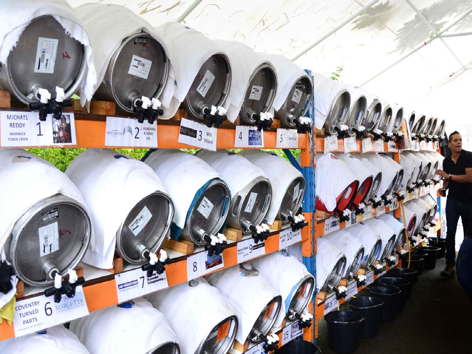 A row of beers at the festival. Photo by Gill Fletcher