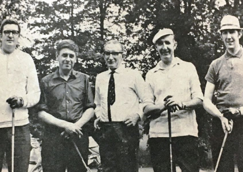 Taking a break during Captain's Day at Lisburn Golf Club in 1970 are Richard Sloan, Billy Jardine, Cyril Moore and Graham McKeown with club captain Jimmy Tolerton.