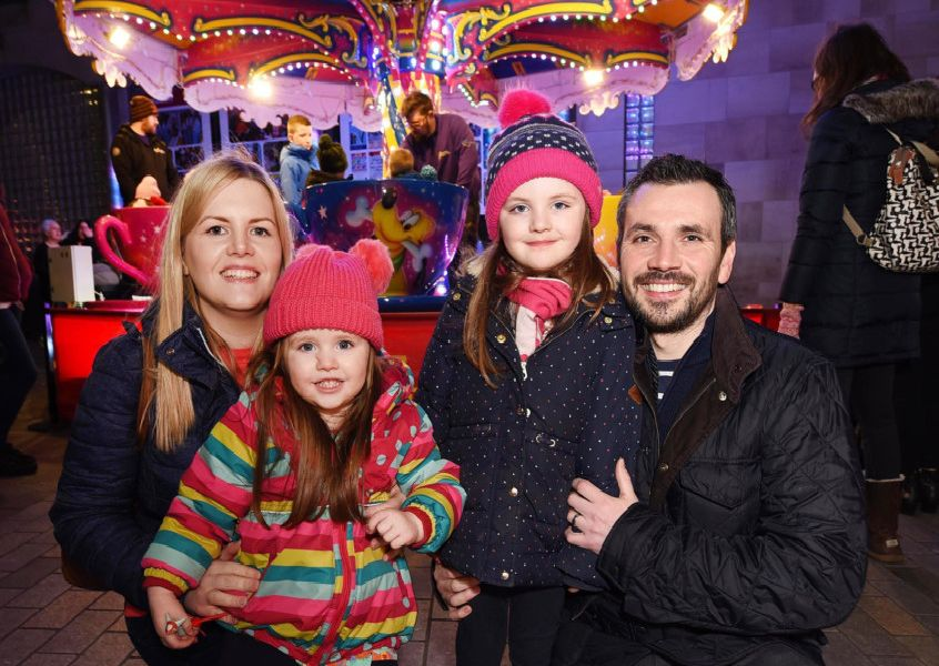 Isla and Betty Macartney with parents Andrew and Claire at the Lisburn City Centre Light Festival.