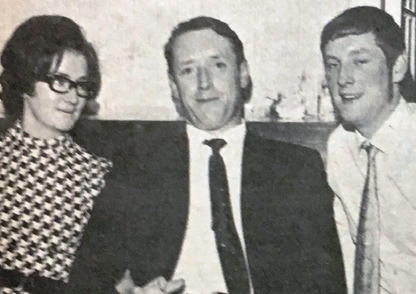 Sgt Fred Robinson and Mrs Robinson with Ian McManus at the Dunmurry RUC station dinner dance in 1970