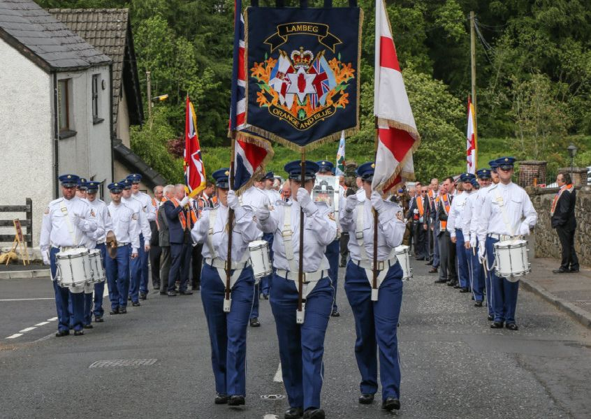 Colour Party of Lambeg Orange and Blue Flute Band. Pic by Norman Briggs rnbphotographyni
