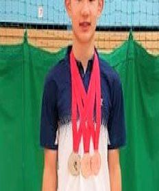 Matthew Cheung with medals from Leigh U17 a Silver in Boy's Doubles and Bronze in Singles and Mixed