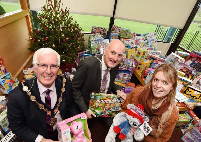 Chamber President, Garry MacDonald with Mayor Cllr Alan Givan and Carol Devine from Barnardos at Lisburn Chamber of Commerc's Charity Toy Appeal & Christmas Lunch in aid of Barnardo's Lisburn.