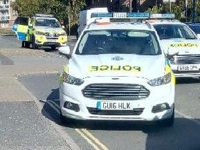 A man has been arrested after becoming aggresive to a police officer outside the Co-op store in North Road, Lancing