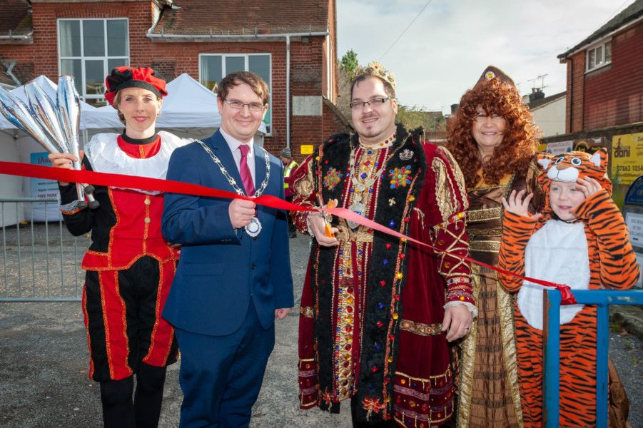 Rustington Parish Council chairman Jamie Bennett, Littlehampton mayor Billy Blanchard-Cooper and Julie Roby, Wick Information Centre and Wick Hall manager, open the event. Picture: Scott Ramsey