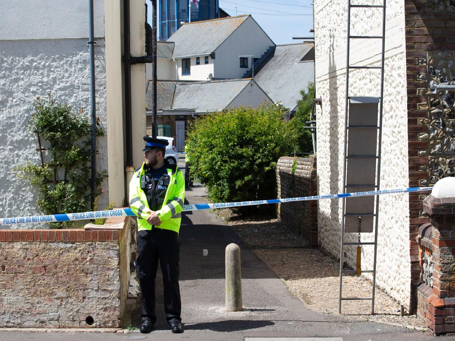 Police have cordoned off an alleyway next to Pier Road, Littlehampton