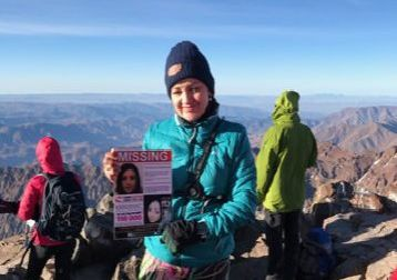 On Sunday, May 19, Andrea Gharsallah scaled the summit of Mount Toubkal in southwestern Morocco and posed for a photo with one of the posters of her missing daughter Georgina Gharsallah