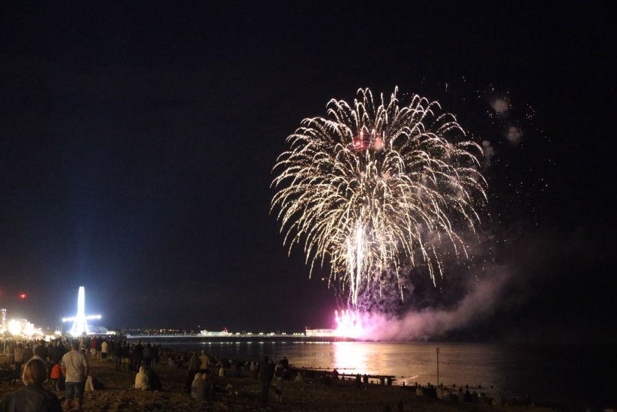 Worthing Lions Festival 2019. Fireworks from the end of the pier