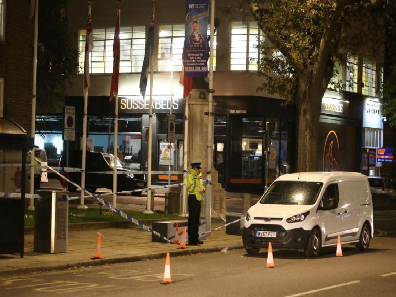 The scene of the incident outside Worthing Town Hall