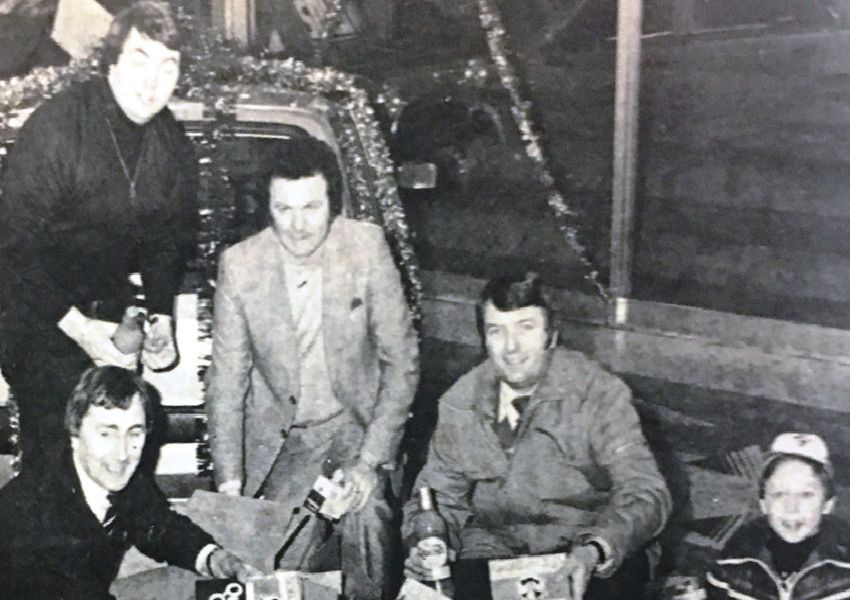Members of Lurgan Round Table make up Christmas parcles which were delivered to one-parent families in the Lurgan area. Pictured are Walter Jones, David Turkington, Bert Bibb, Jim Edmundson, and Clive Turkington.