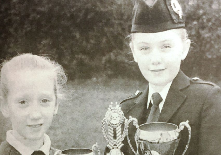 Champion drummer Lee Lawson with sister Kim after finishing runner up at the world championships in 1992.