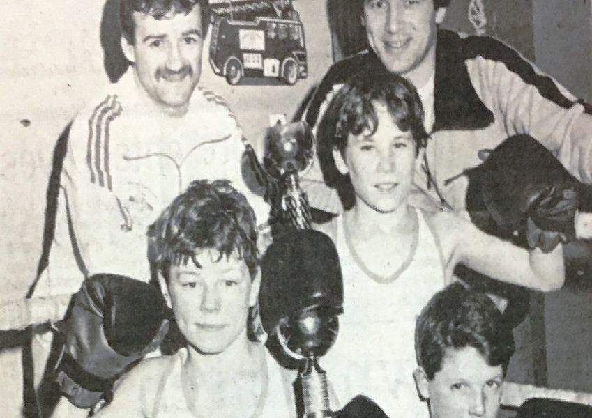 Coaches Conor O'Reilly and Kieran Towe of the Clann Eireann Boxing Club with some of the members who won trophies in 1987 - Patrick Breen, Finbarr Irwin and Kieran Towe