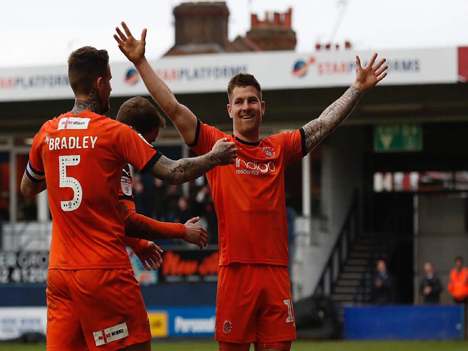 James Collins scored his 20th league goal of the season for the Hatters at the weekend.