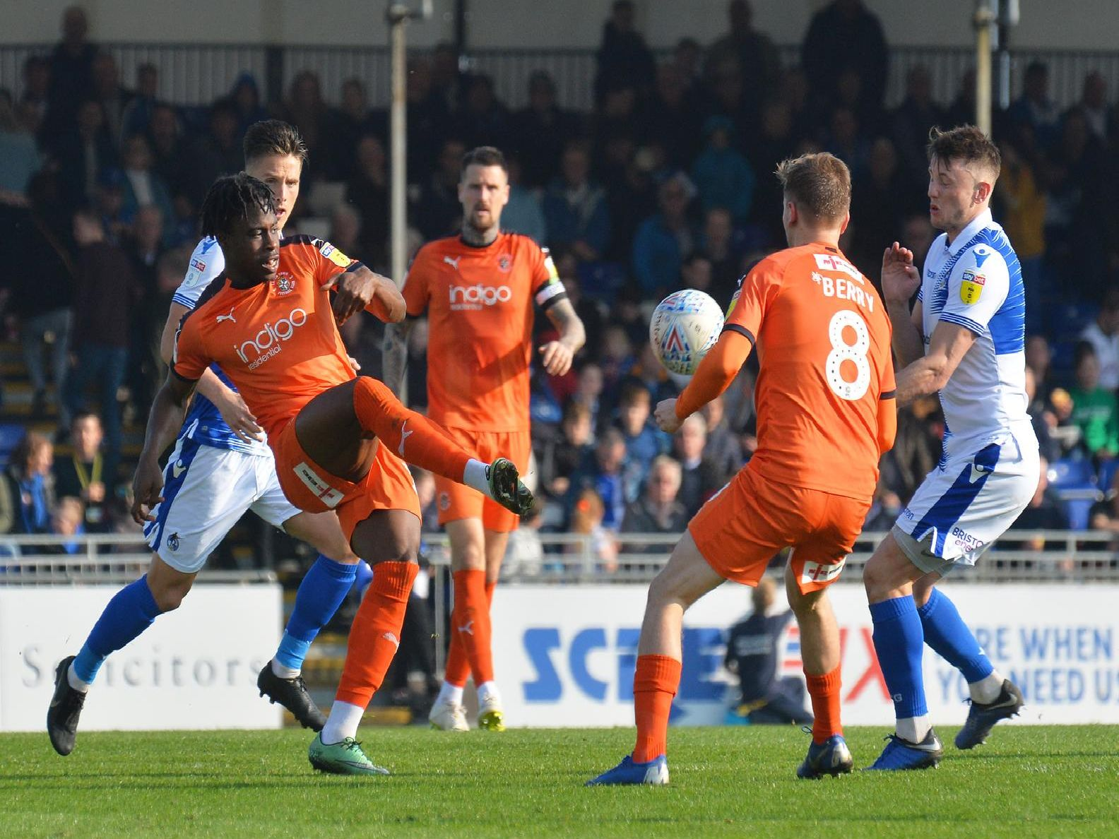 Pelly-Ruddock Mpanzu keeps the ball moving on his 200th appearance for the Hatters at Bristol Rovers on Saturday