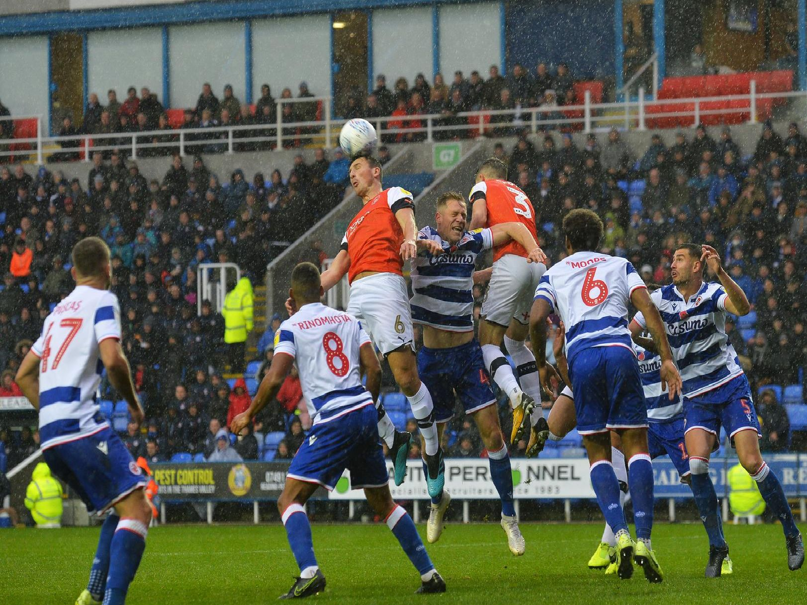 Matty Pearson heads clear against Reading on Saturday