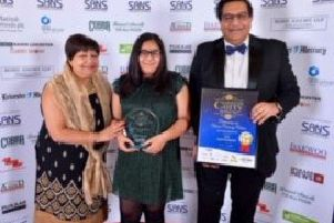 Winners, from left, Heena Dawda with Soi Indian Restaurant owner,  Atul Dawda and his daughter Lara Dawda.