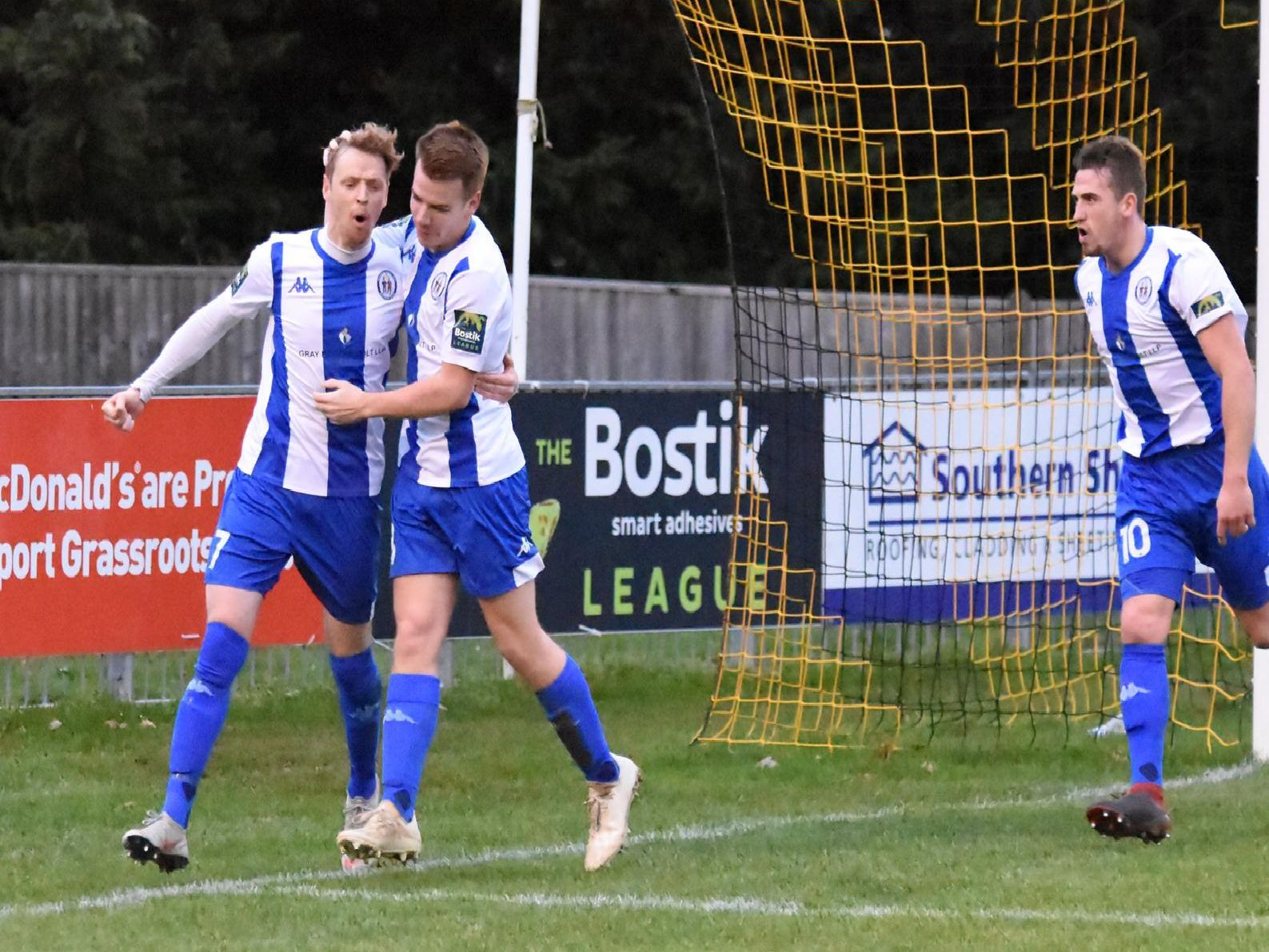 Callum Saunders celebrates his goal. Picture by Grahame Lehkyj
