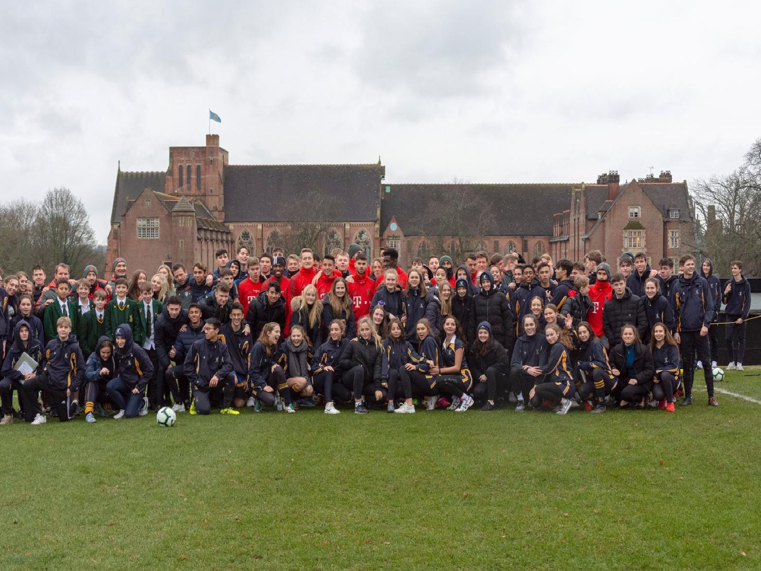 Bayern Munich u23s with Ardingly College students