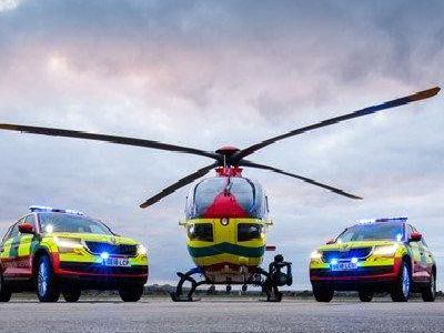 The air ambulance and two of the crew's emergency vehicles
