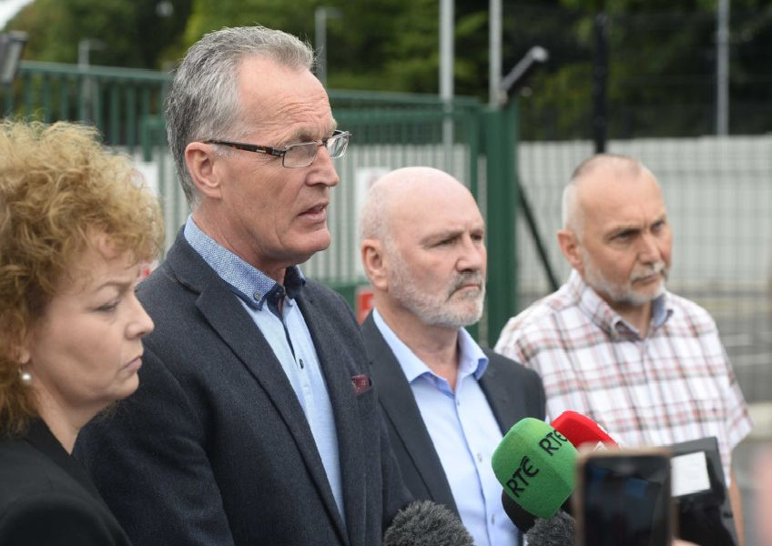 Sean Murray (right) pictured outside PSNI headquarters in 2015 with fellow Sinn Fein representatives (l-r) Caral Ni Chuilin, Gerry Kelly and Alex Maskey. Picture: Mark Marlow/pacemaker press