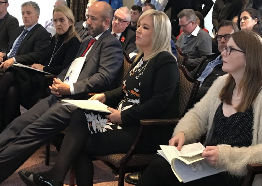 Sinn Fein Vice President Michelle O�Neill attends the launch of the Costs of Non-Unification - Brexit and the Unification of Ireland report at Europa Hotel in Belfast on Wednesday morning