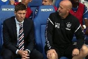 Steven Gerrard (left) and Rangers assistant manager Gary McAllister. Pic by PA.