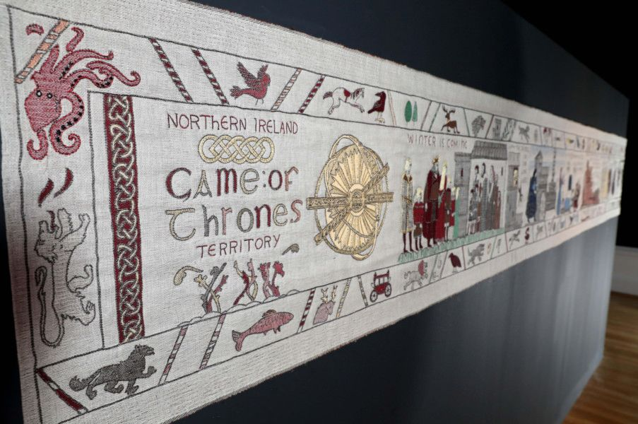REPRO FREE'7/12/2018, Belfast ' Following the final season of the award-winning HBO series Game of ThronesAE ' which will air in April 2019 ' Tourism Ireland's Game of ThronesAE Tapestry will travel to Bayeux in Normandy, north-western France, home of the world-famous 11th-century Bayeux Tapestry. The Game of ThronesAE Tapestry will be exhibited there from September 2019, near its historic counterpart ' which was a key source of inspiration for its new neighbour.'PIC SHOWS: Tourism Ireland's Game of ThronesAE Tapestry on display in the Ulster Museum, Belfast. 'Pic ' William Cherry, PressEye (no repro fee)'Further press info ' Clair Balmer, Tourism Ireland 07766 527719