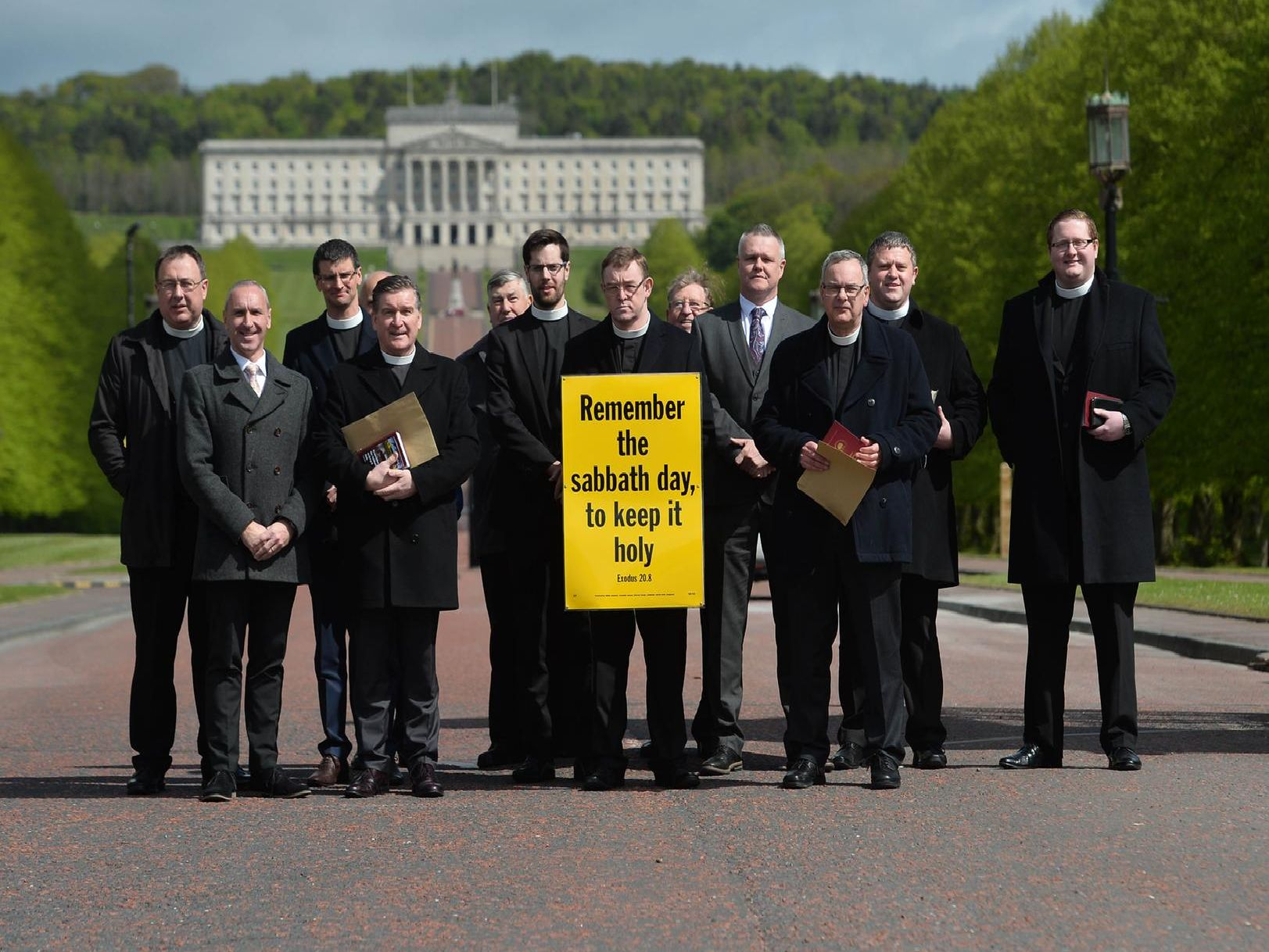 An image from the protest staged by members of the Free Presbyterian Church in Stormont on Friday
