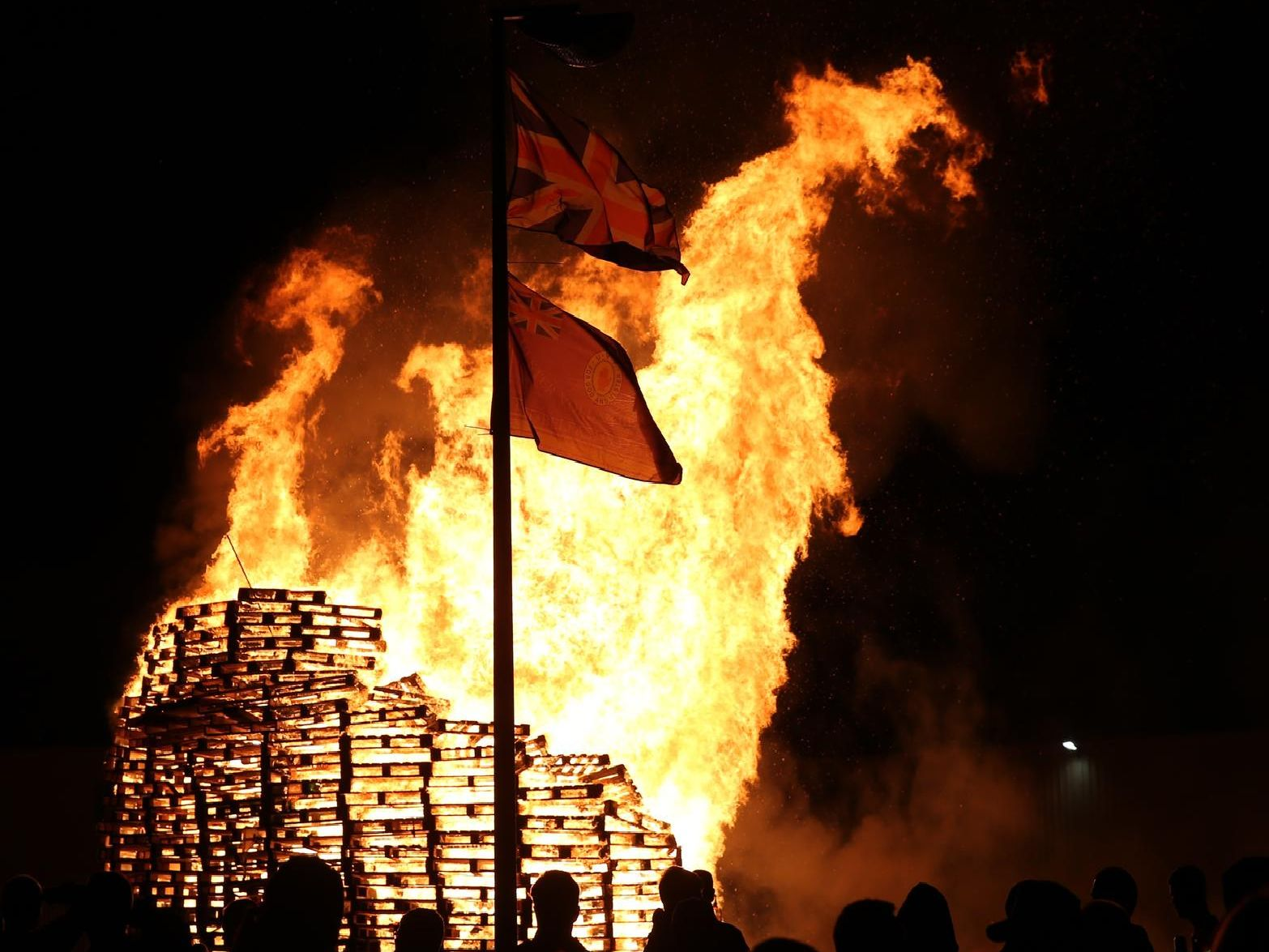 A photo taken during the Eleventh Night Bonfires in Northern Ireland.
