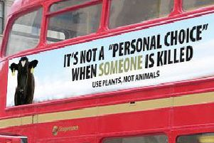 One of the adverts on the side of London bus