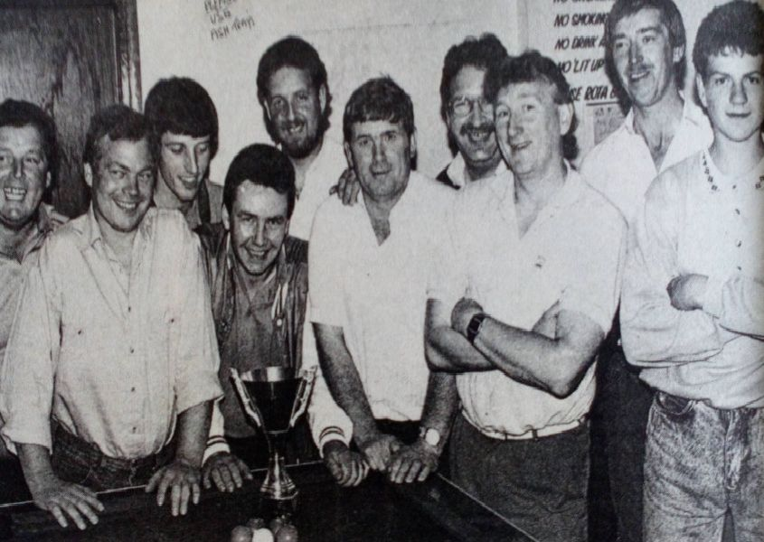 Ballyboley Inn, winners of the Billy Liddle Cup pool competition, 1989.