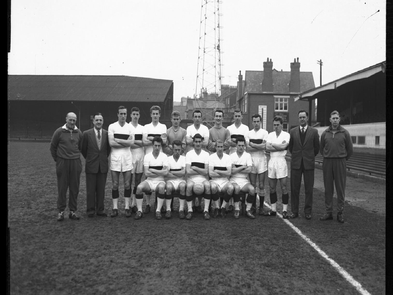 Finishing eighth in Division Three the Cobblers squad on April 17, 1962, with manager Dave Bowen second right