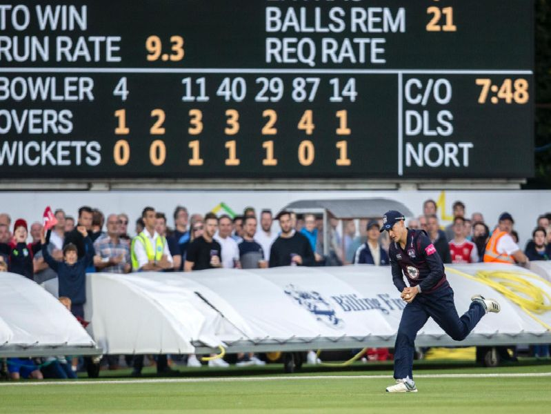 Tom Sole claims a catch on the boundary to dismiss Tom Fell (Pictures: Kirsty Edmonds)