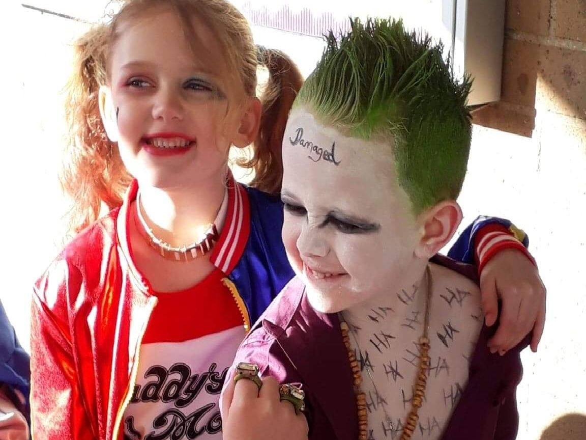 Amaya Poole and Jack Brown, both 5, of Millbrook Infant School, Kettering, as 'Harley Quinn and The Joker