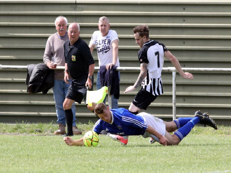 Action from the pre-season friendly between Rothwell Corinthians and Corby Town at Sergeants Lawn